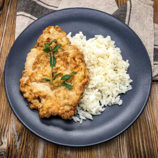 Мясо Бризоль и рис отварной